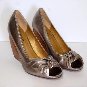 Seychelles Open Toe Wedge silver shoes